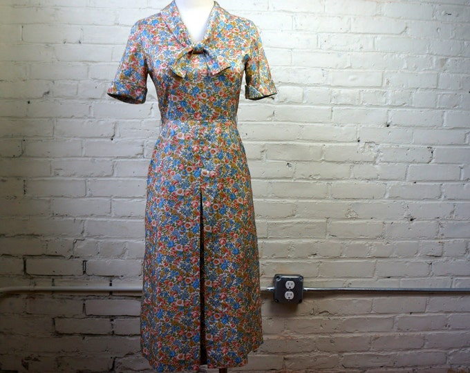 Floral Earth 1960s Retro Silk Pastel Flower Day Dress SMALL Kanebo Intl Fabric Vintage 60s does 30s Sage Green Rose Pink Sky Blue Gold Cream