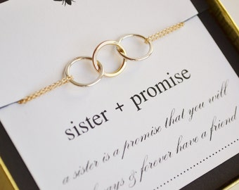 Sister Promise Triple Linked Ring Necklace