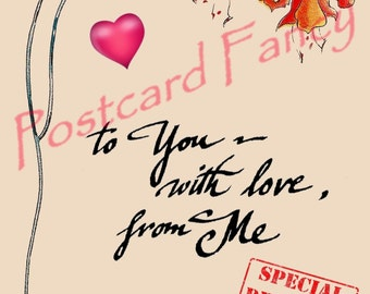 Digital Download, Art Nouveau flower and love message on vintage postcard, Valentine , Love Note,  Pretty!