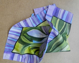 Violet Iris flowers silk scarf . Violet and green hand painted silk scarf . Painted silk scarves. Ready to ship.
