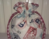 Custom Listing for Mari - Drawstring Bag / Storage Bag / Storage Pouch / Project Bag - Alice in Wonderland
