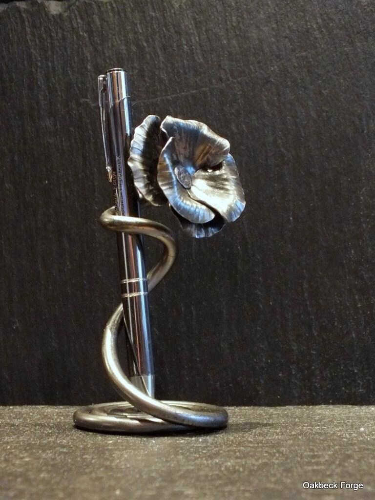 Poppy Design Pen Holder Blacksmith Hand Forged