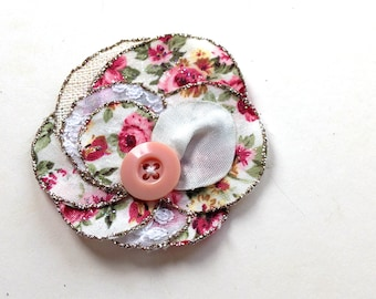 Chic summer flower -  handmade hair accessory flower rose, fabric, pink, white, roses, silk, button, bobby pin, brooch, upcycling, summer