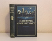 Sale 20% Off, Elementary Community Civics by R. O. Hughes 1932, Antique Book, Vintage Book, Blue Book, Blue and Off White, Blue Decor