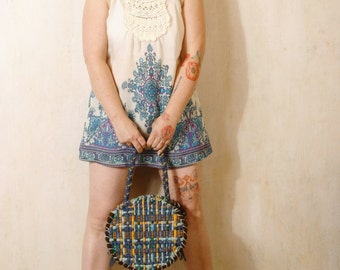 Blue bag Round handbag Crochet handbag Boho bag Bohemian bag Round bag Handle bag Crochet bag Blue handbag Crochet bag Round purse Knit bag