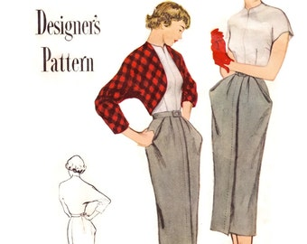 1940s Suit Pattern Simplicity Designer's 8138, Peg Top Skirt, Dolman Bolero, Push Up Sleeve Blouse, 1949 Vintage Sewing Pattern Bust 33