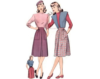 1940s Sewing Pattern Hollywood 1684, Bolero Jacket, Blouse & Skirt w/ Inverted Pleat, Coordinates, Vintage Sewing Pattern Bust 32 Uncut