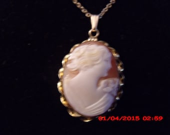REDUCED -Vintage Gold filled carved cameo signed by Providence Stock Co. The company was in business from 1890 to 1950's.  Well made.