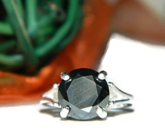 Moissanite Ring, 10mm Black Diamond Ring, Sterling Silver