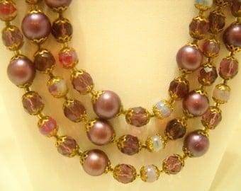 Vintage Triple Strand Amethsyt Beaded Necklace (4095)
