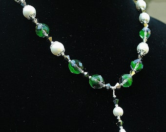 Green Crystal Vintage Faux Pearl Necklace Swarovski Crystals Wedding  Special Occasion Handcrafted