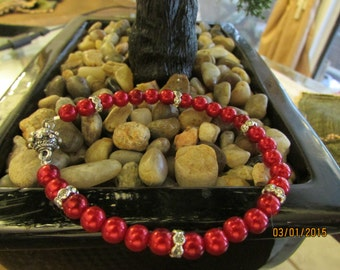 red beads  w/ magnetic clasp