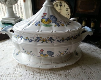 Vintage Country French Style Soup Tureen, 4 Pieces, Chanteclair