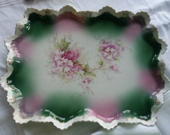Gorgeous Antique Porcelain Dresser Tray, made in Austria