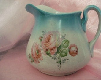 Vintage Shabby Pitcher Pink Rose on Blue Hall Pitcher Shabby Cottage Chic Large Pitcher Shabby Rose