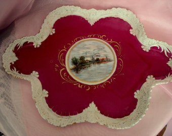 Vintage Dresser Tray R Austria Hand-painted Cranberry Red Porcelain Shabby Cottage Chic Rare