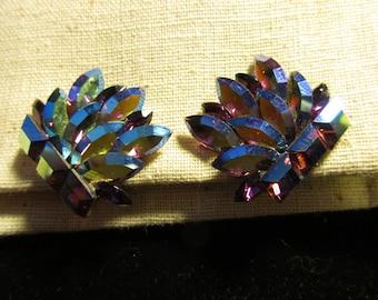 Rhinestone Clip Earrings, AB Purple Rhinestones, Marquis and Square Stones, Unsigned