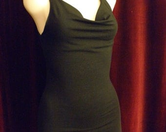 Organic Black Cowl Tank Top with Straight Hemmed Bottom and Back Weave.