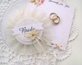 Bride Badge, Bridal Shower Corsage, Bride Pin, White Ivory Bachelorette Party Pins, Bridal Shower, Hen Party Pins, Wedding Party Badges