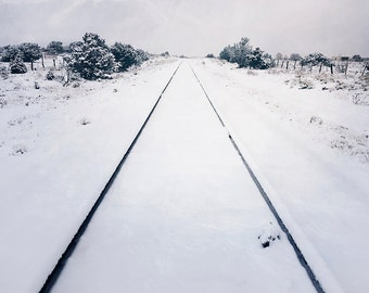 Winter scene, snow, snow covered railroad tracks, winter photograph, black and white