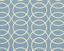 Light Blue Geometric Upholstery Fabric - Blue White Furniture Fabric with Circles - Modern Blue Pillow Covers - Contemporary Home Furnishing