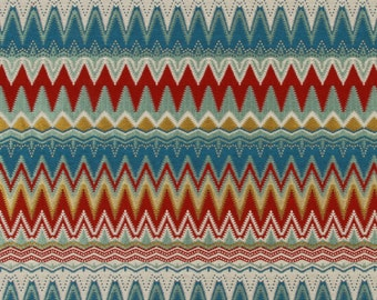 Modern Blue Red Yellow Woven Heavyweight Upholstery Fabric for Furniture and Headboards - Contemporary Red Pillow Covers - Graphic Fabrics