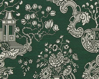 Dark Green Toile Upholstery Fabric - Emerald Green Asian Toile Pillows - Heavyweight Furniture Material - Toile Home Decor Pillows
