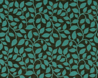 Turquoise and Brown Upholstery Fabric with Leaves - Contemporary Leaf Fabric  - Turquoise Headboard - Blue Brown Leaf Pillows
