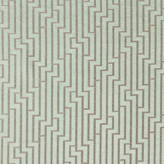 Mint Green Velvet Geometric Upholstery Fabric for Furniture - Green Grey Velvet Pillow Covers - Velvet Drapery - Mint Green Home Furnishings