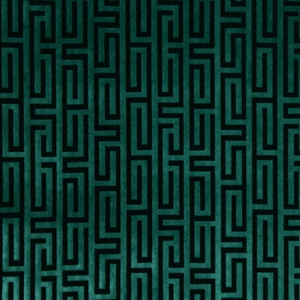 Teal Velvet Fabric Greek Key Velvet Upholstery Fabric