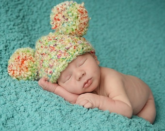 Easter Baby Hat Spring Baby Hat 0 to 3 Month Baby Girl Hat Baby Boy Hat Pom Pom Baby Hat Mouse Ear Hat Tutti Frutti Rainbow Photo Prop