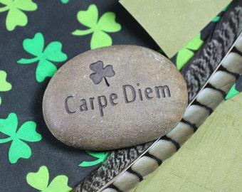 Carpe Diem engraved stone