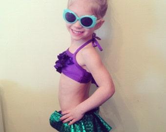 Mermaid Bikini bathing suit, Infant, Toddler, Girls, mermaid scale