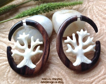 "Fake Gauge Earrings, ""Tree of Life"" Naturally Organic, Hand Carved, Sono Wood and Bone"