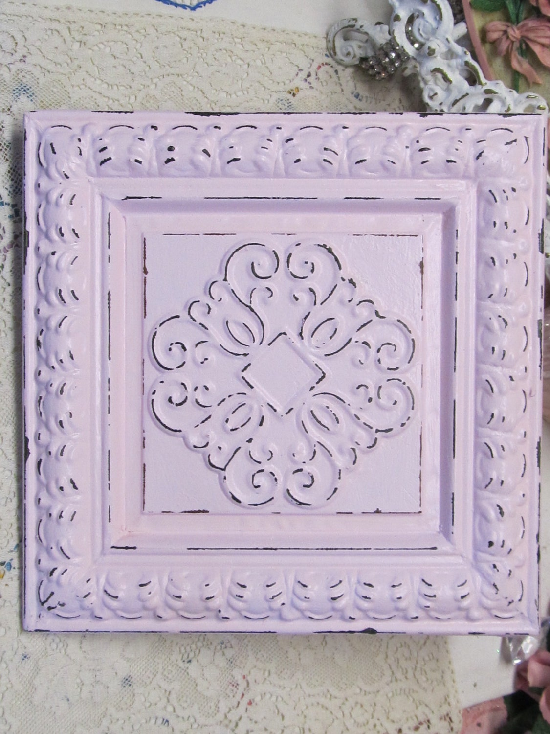 Shabby chic pink metal ceiling tile wall decor distressed for Shabby chic wall tiles