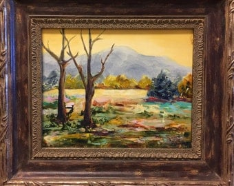 "ORIGINAL OIL PAINTING ""Yellow Sky""  Colorful Landscape By Artist Judie Mulkey"
