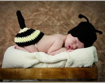Sale bumble bee photo prop hat and diaper cover set
