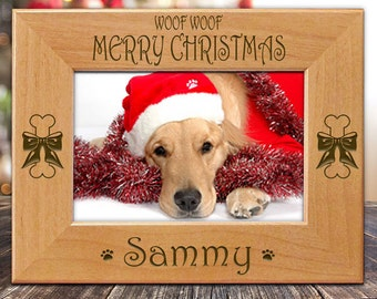 Woof Woof Merry Christmas Dog Picture Frame