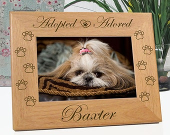 dog frame adopted adored pet rescue picture frame custom personalized with name - Dog Frame