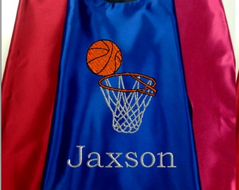 Super Hero Cape,  Kid's Cape Embroidered Basketball and Hoop  Personalized with Name
