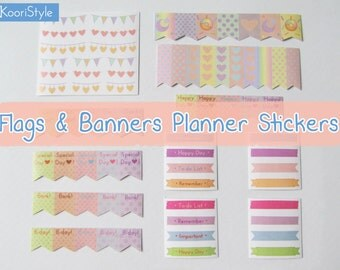 260 Handmade Planner Stickers: Flags & Banners Set