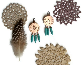 stamped boho jewelry // dreamcatcher earrings // copper turquoise