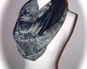 Pashmina paisley infinity scarf/Christmas scarf/dark blue scarf