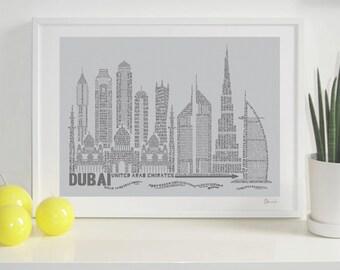 Dubai Skyline Typography Print