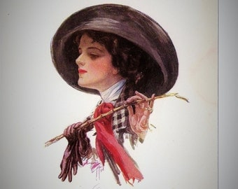 HARRISON FISHER PRINT  Following the Race  1911  Woman in Riding Crop  signed vintage antique