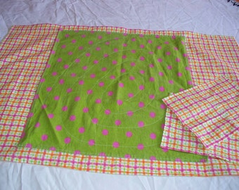 TABLE CLOTH - Bright Pink and Green on Pink, Orange and Green Plaid