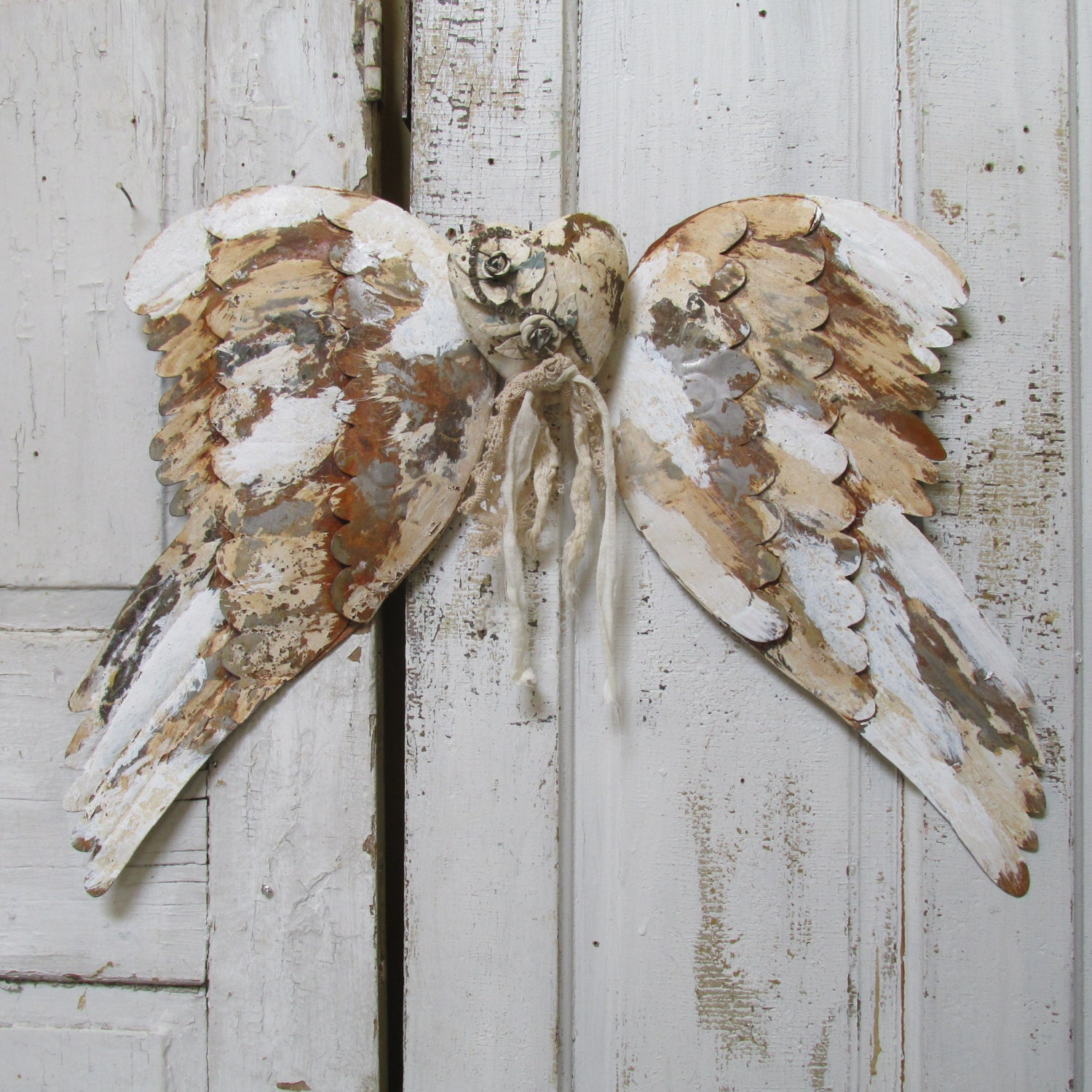 Distressed Rusty Metal Angel Wings Wall Decor With Embellished