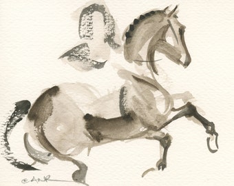 "Horse Art, Painting, Dressage, Original Watercolor by Anna Noelle Rockwell, ""Upward Transition"""