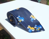Vintage 1970s Navy Blue Polyester Tie with Golden Model T Cars