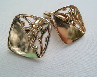 Vintage 1960s Goldtone Angled Post Square Cuff Links